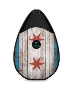 Chicago Flag Dark Wood Suorin Drop Vape Skin