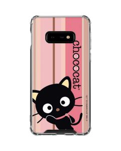 Chococat Pink and Brown Stripes Galaxy S10e Clear Case