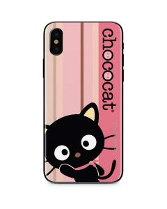 Chococat Pink and Brown Stripes iPhone XS Skin