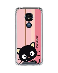 Chococat Pink and Brown Stripes Moto G7 Power Clear Case