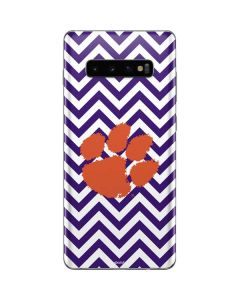 Clemson Chevron Print Galaxy S10 Plus Skin