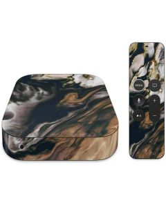 Copper and Black Marble Ink Apple TV Skin