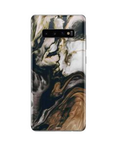 Copper and Black Marble Ink Galaxy S10 Plus Skin