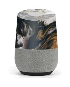 Copper and Black Marble Ink Google Home Skin