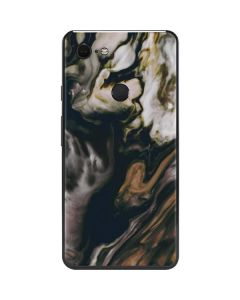 Copper and Black Marble Ink Google Pixel 3 XL Skin