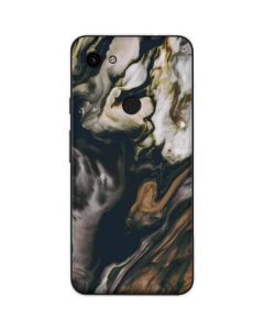Copper and Black Marble Ink Google Pixel 3a Skin