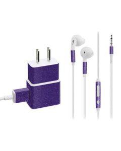 Diamond Purple Glitter Phone Charger Skin