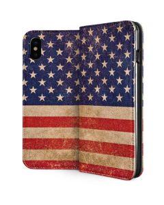 Distressed American Flag iPhone XS Folio Case