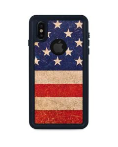 Distressed American Flag iPhone XS Waterproof Case