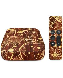 Floral Wood Mahogany Apple TV Skin