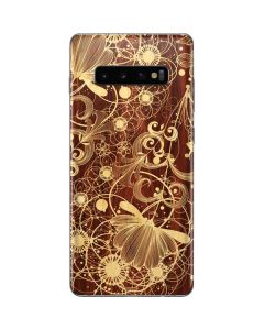 Floral Wood Mahogany Galaxy S10 Plus Skin