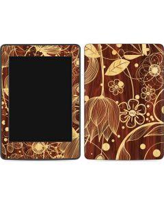 Floral Wood Mahogany Amazon Kindle Skin