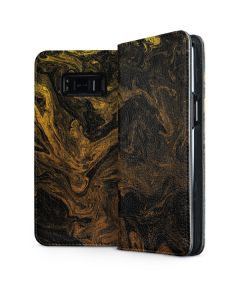 Gold and Black Marble Galaxy S8 Plus Folio Case