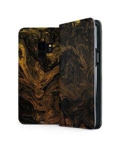 Gold and Black Marble Galaxy S9 Folio Case