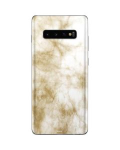 Gold and White Marble Galaxy S10 Plus Skin