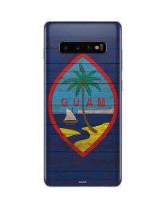 Guam Flag Dark Wood Galaxy S10 Plus Skin