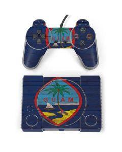 Guam Flag Dark Wood PlayStation Classic Bundle Skin