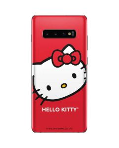 Hello Kitty Cropped Face Red Galaxy S10 Plus Skin