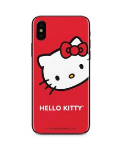 Hello Kitty Cropped Face Red iPhone X Skin