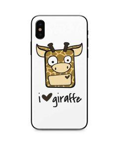 I HEART giraffe iPhone XS Skin