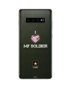 I Heart My Soldier Green Galaxy S10 Plus Skin