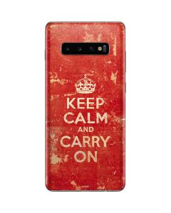 Keep Calm and Carry On Distressed Galaxy S10 Plus Skin