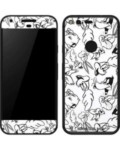 Looney Squad Black and White Grid Google Pixel Skin