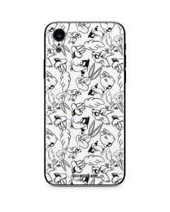 Looney Squad Black and White Grid iPhone XR Skin