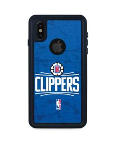 Los Angeles Clippers Distressed Blue iPhone XS Waterproof Case