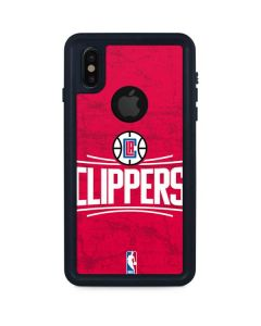 Los Angeles Clippers Distressed Red iPhone XS Waterproof Case