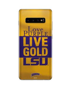 Love Purple Live Gold LSU Galaxy S10 Plus Skin