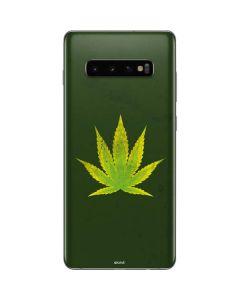 Marijuana Leaf Light Green Galaxy S10 Plus Skin