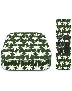 Marijuana Leaf White Pattern Apple TV Skin