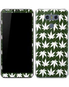 Marijuana Leaf White Pattern LG G6 Skin