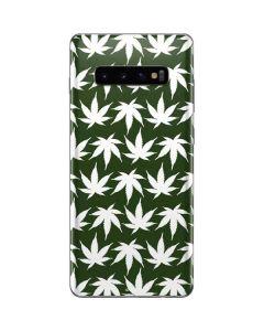 Marijuana Leaf White Pattern Galaxy S10 Plus Skin