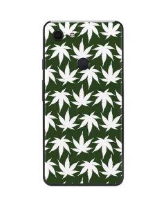 Marijuana Leaf White Pattern Google Pixel 3 XL Skin