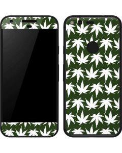 Marijuana Leaf White Pattern Google Pixel Skin
