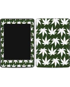 Marijuana Leaf White Pattern Amazon Kindle Skin
