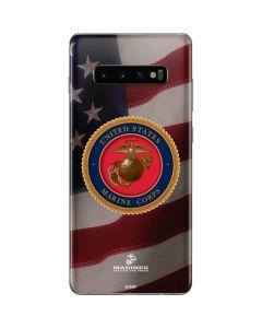 Marine Corps American Flag Logo Galaxy S10 Plus Skin