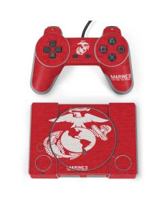 Marines Red Distressed PlayStation Classic Bundle Skin