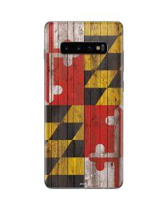 Maryland Flag Dark Wood Galaxy S10 Plus Skin