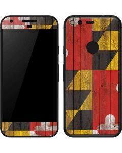Maryland Flag Dark Wood Google Pixel Skin