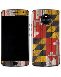 Maryland Flag Dark Wood Moto X4 Skin