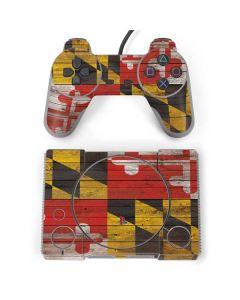 Maryland Flag Dark Wood PlayStation Classic Bundle Skin
