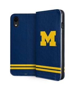 Michigan Logo Striped iPhone XR Folio Case