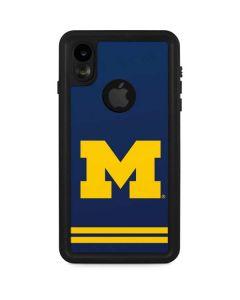 Michigan Logo Striped iPhone XR Waterproof Case
