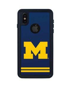 Michigan Logo Striped iPhone XS Waterproof Case