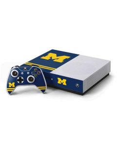 Michigan Logo Striped Xbox One S Console and Controller Bundle Skin