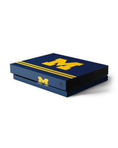 Michigan Logo Striped Xbox One X Console Skin