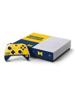 Michigan Wolverines Split Xbox One S Console and Controller Bundle Skin